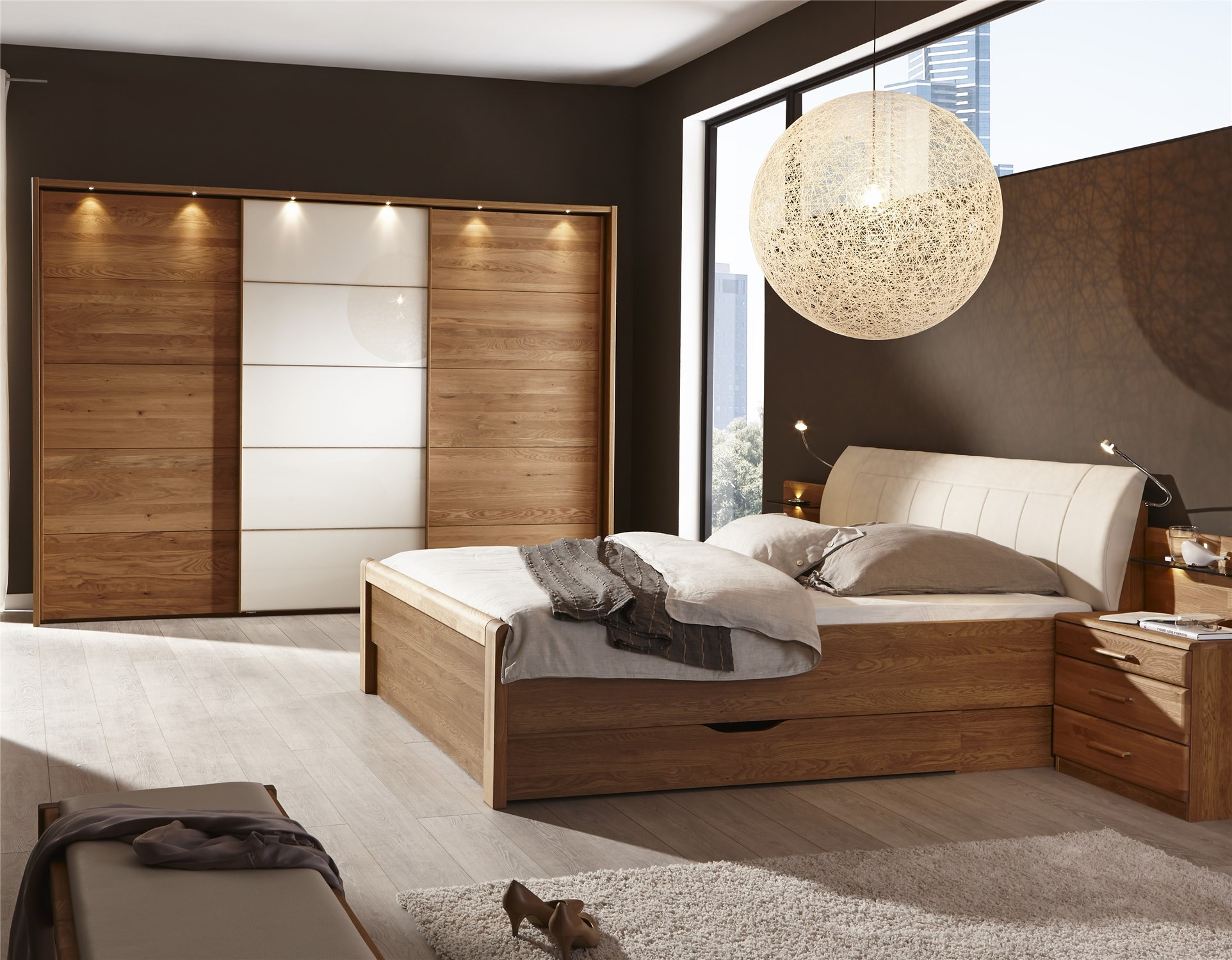 ZEFIRO by Stylform, Semi Solid Oak and Glass or Mirror Bedroom Set