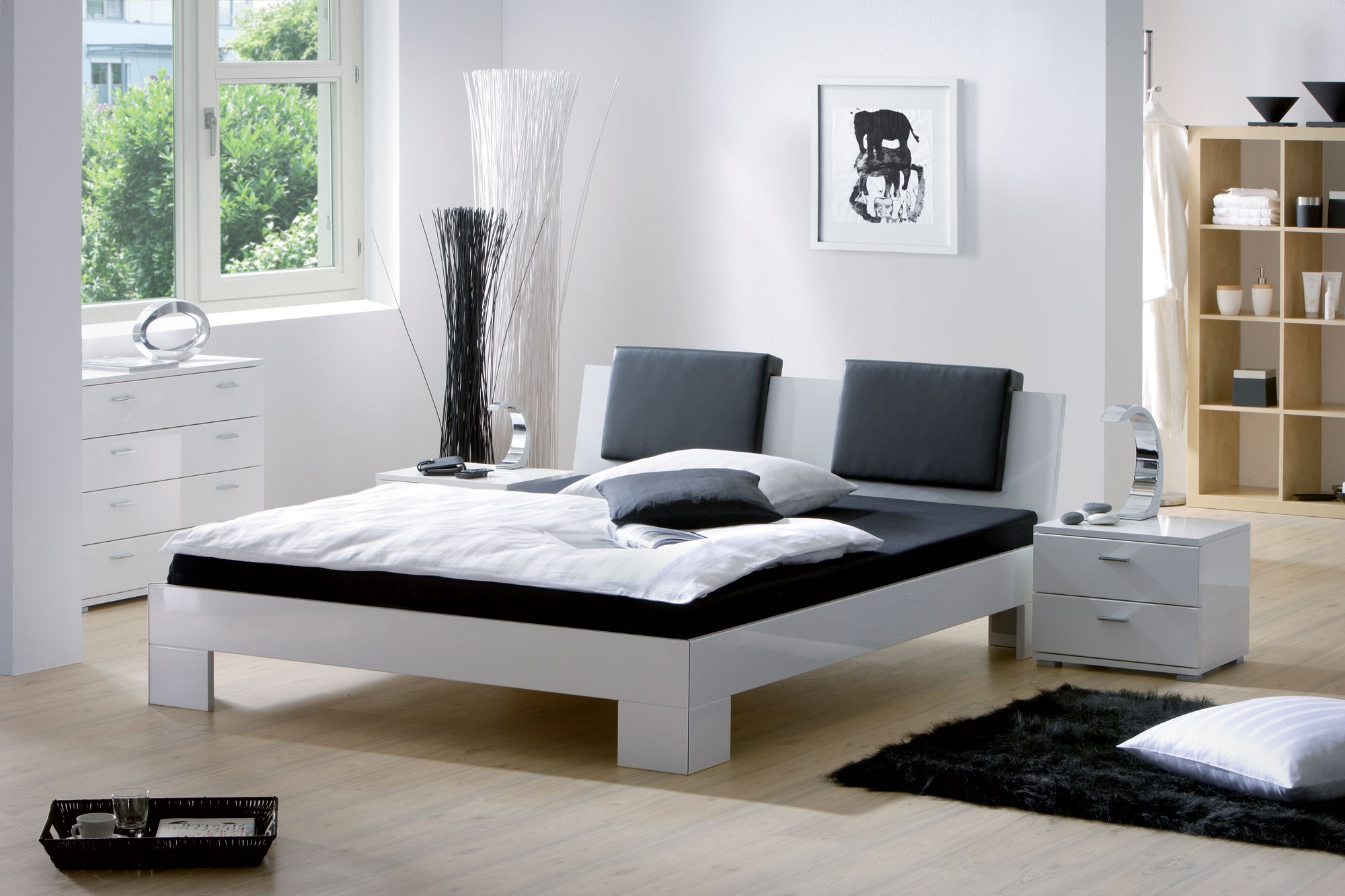 Modern White Leather Bed