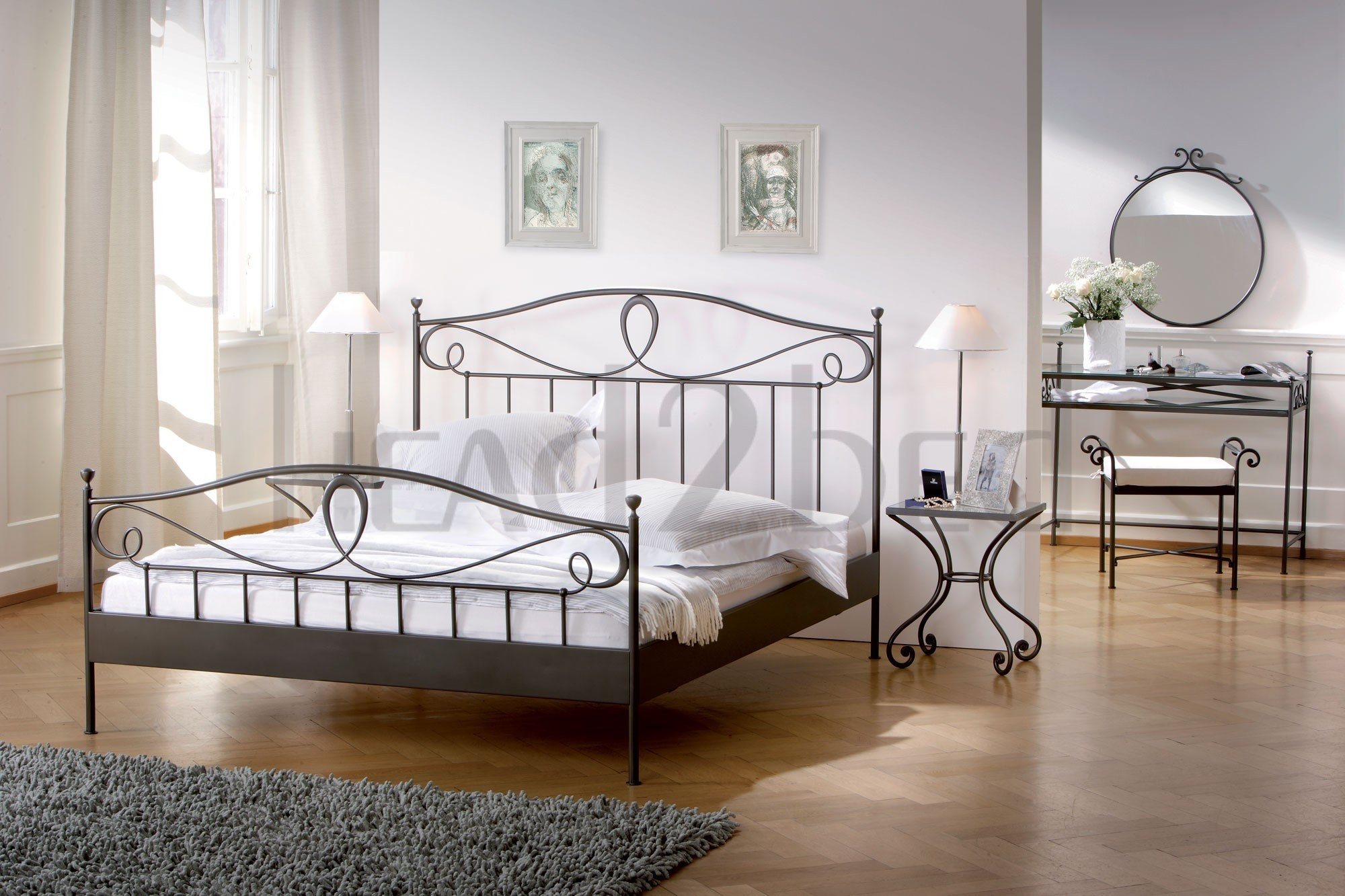 hasena romantic lurano solid wrought iron bed head2bed uk. Black Bedroom Furniture Sets. Home Design Ideas