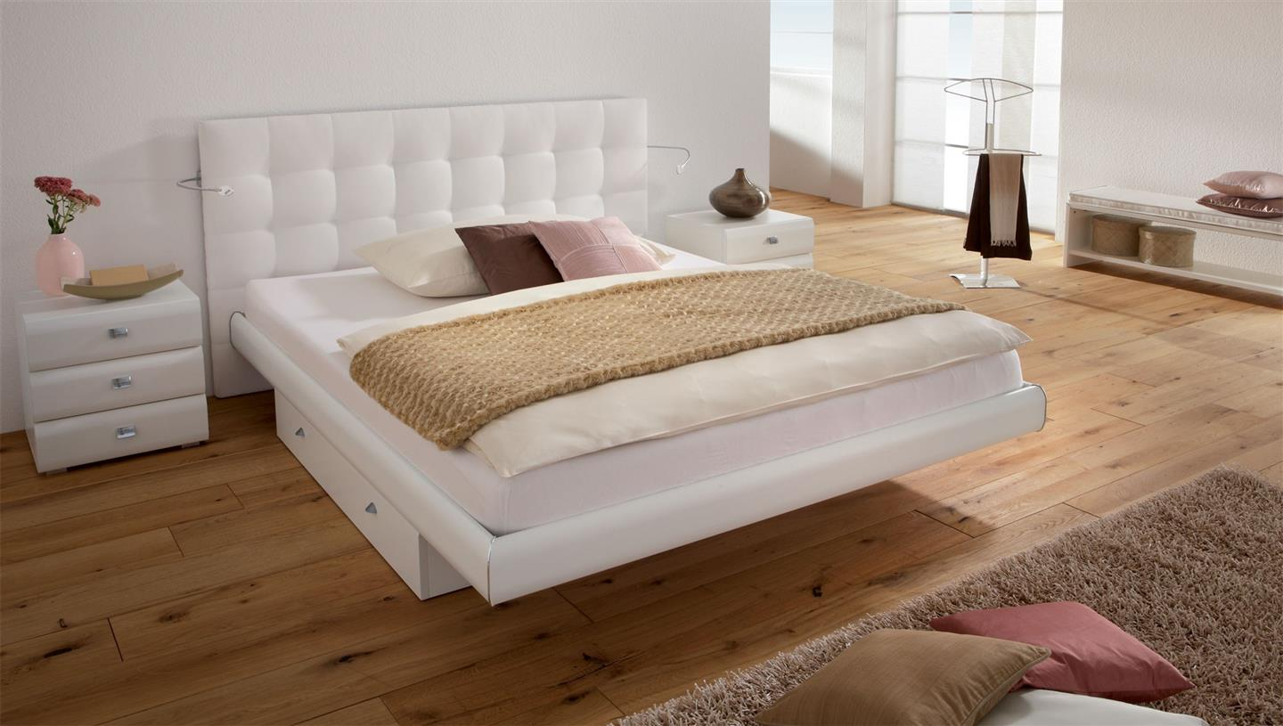 white real leather white headboard modern bed