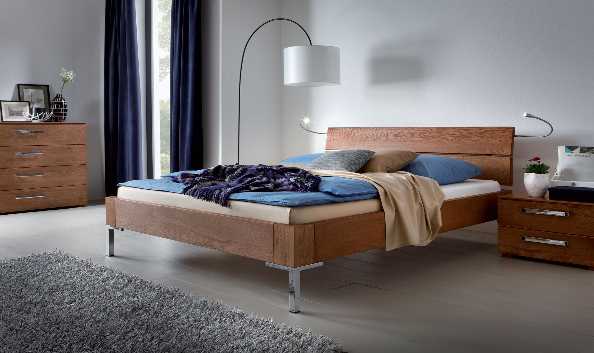 hasena oakline sina  avila contemporary oak solid wood bed  - natural oak oiled solid wooden bed