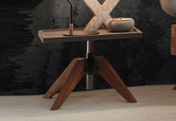 Hasena Pira Bedside TableCharacter Solid Oak and Concrete finish