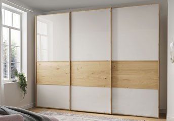 Stylform BONN 200-400 cm Sliding Door WardrobeChampagne & Bianco Oak