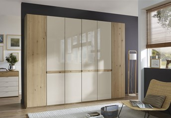 Stylform BONN - 150-400cm Hinged Door WardrobeChampagne Glass/Mirror/Bianco Oak