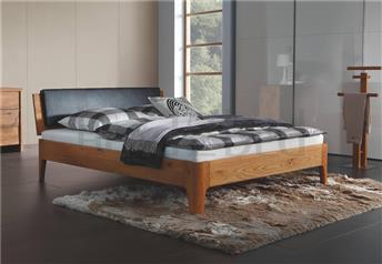 Hasena Xylo Varus Ravo - Solid Oak/Real Leather Modern Bed