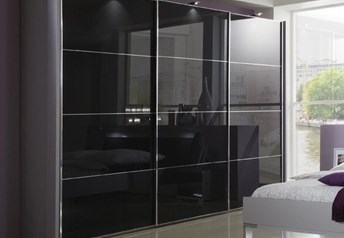 Florida by Stylform - White-Black-Grey Glass/Mirrored Wardrobe
