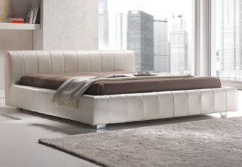Quarrata CAPRI Italian Modern Leather Bed with low-rise headboard