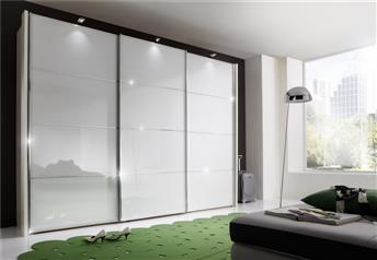Stylform FLORIDA - 150-400cm White/Black/Magnolia Glass/Mirrored Sliding Wardrobe
