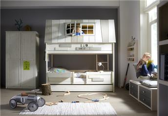 Lifetime Kidsrooms - My Hang-Out Hut-Bed in Solid Wood WHITEWASH-Storage/Guest bed option