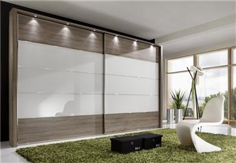 Stylform EOS - 200-400cm Truffle Oak/Glass/Mirrored Sliding Door Wardrobe