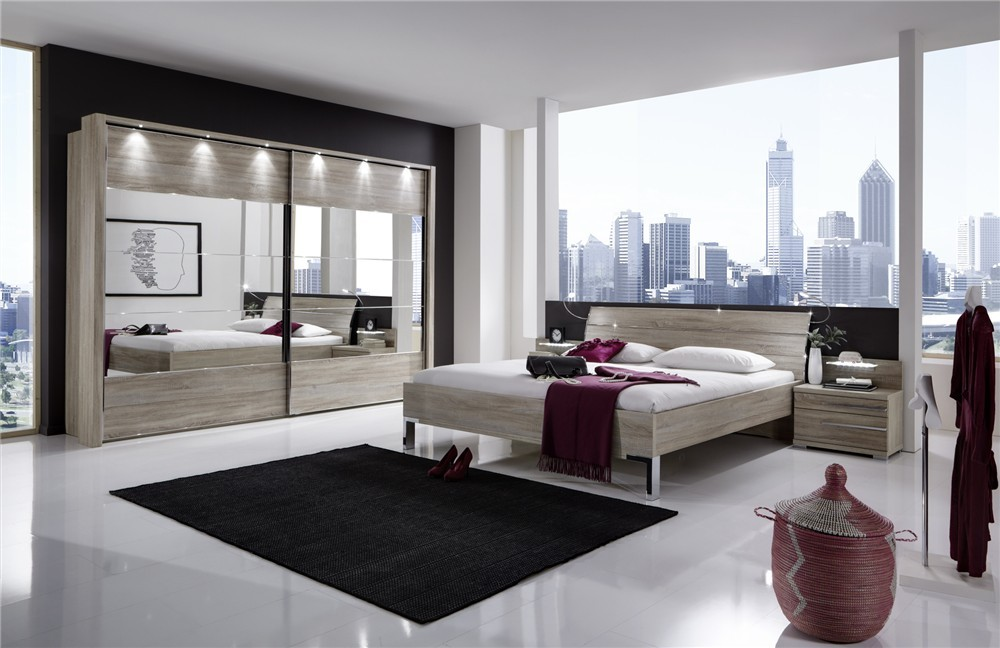 stylform eos contemporary wood mirror bedroom furniture set