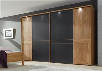 Aura by Stylform - Semi Solid Oak and Mocca finish Sliding Door Wardrobe