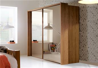Stylform AURA - 200/250cm Oak & Glass/Mirrored Sliding Door Wardrobe